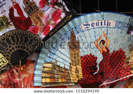 Hand fans with Spanish and Seville motifs like flamenco Foto stock ©