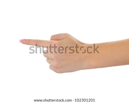 hand finger pointing. Isolated on white background