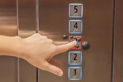 Hand finger press button in elevator with virus. Covid-19 or Coronavirus in the elevator button. Button with virus around the elevator or lift. Infection Control and Social distance concept