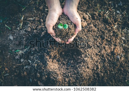 hand for planting trees back to ...