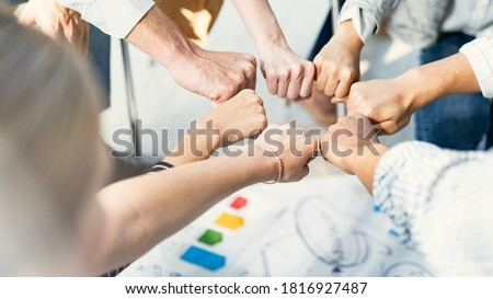 Hand for work together concept, Hand stack for business and service, Volunteer or teamwork togetherness, Concept connection of community and charity. Group of happy people or team participation. Photo stock ©