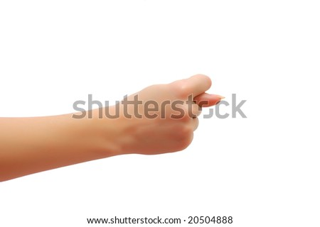 Hand formed in the fig sign isolated on white