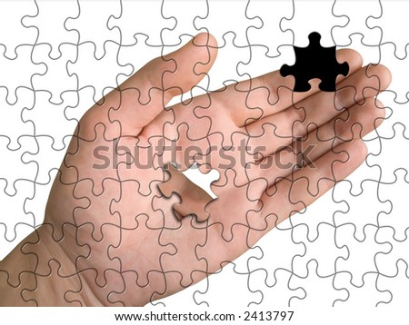 Hand from puzzle without one piece (it layz on 	palm), white background