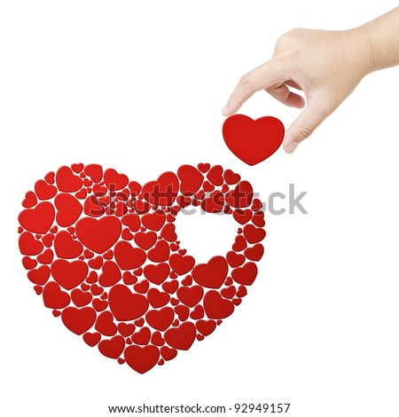 Hand fulfill the heart with heart