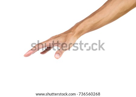 Hand gesture like a palm press down isolated on white background with clipping path.  Hand can use many communicate. We can communicate the dumb dialect with hand gestures.