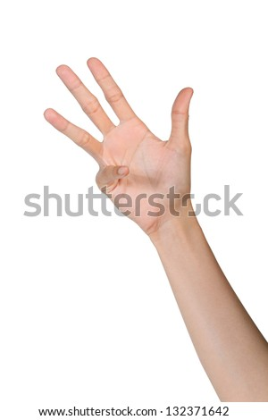 Hand gesture number nine isolated on white background - stock photo