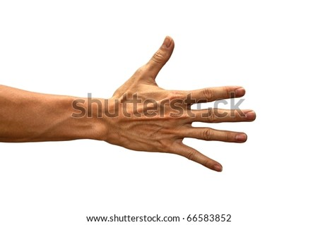 Hand gesture of male isolated
