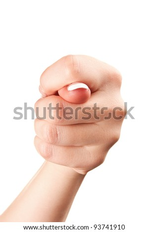 hand gesture of woman isolated on a white background