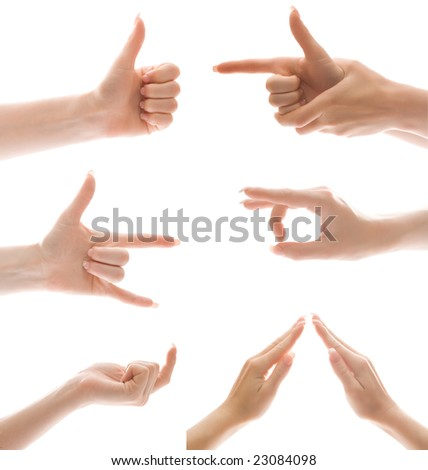 Hand gesture set, isolated