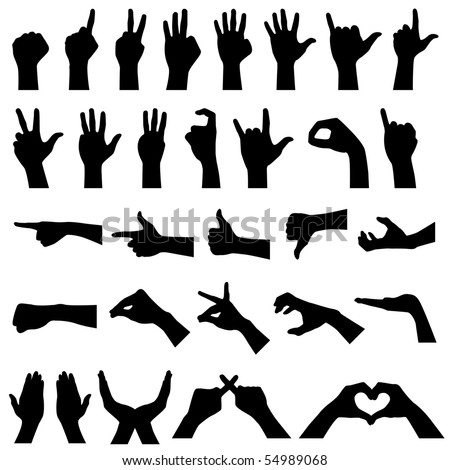Hand Gesture Silhouettes in Raster