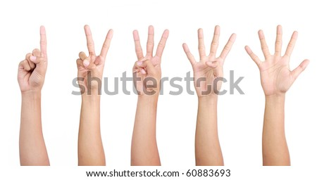 hand gestures counting from 1 to 5