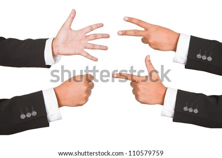 Hand gestures set, isolated. These and other gestures