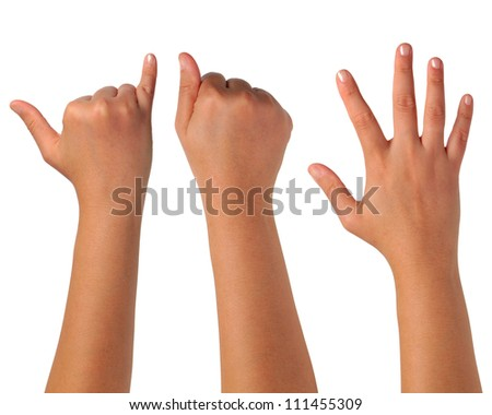Hand gesturing signs on white isolation.