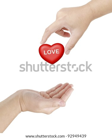 Hand give a heart of love to other hand, A love to share