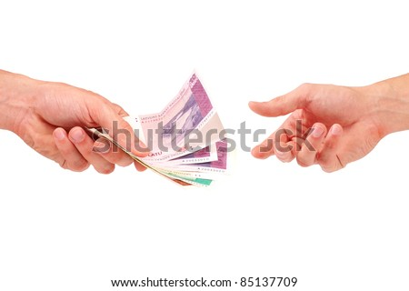 hand give money to another