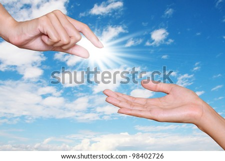 hand give opportunity to another hand with blue sky background, concept