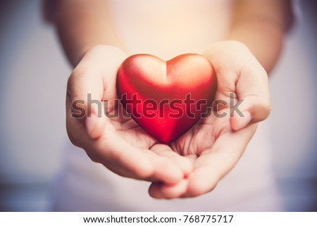 Hand give red heart for love #768775717