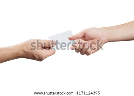 Hand giving a blank card or a ticket/flyer, isolated on white background