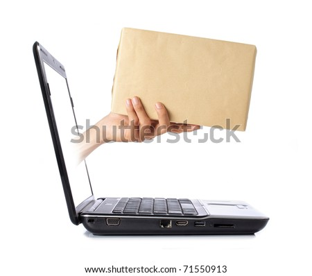 hand giving a box out of laptop screen