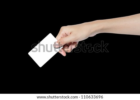 hand giving blank business card.