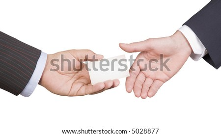 Hand giving business card. Men passes business card to partner. Photo on white with clipping paths.