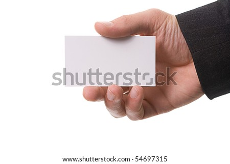 hand giving card isolated on white close up look