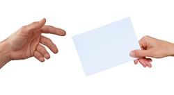 Hand giving close letter envelope on white background.