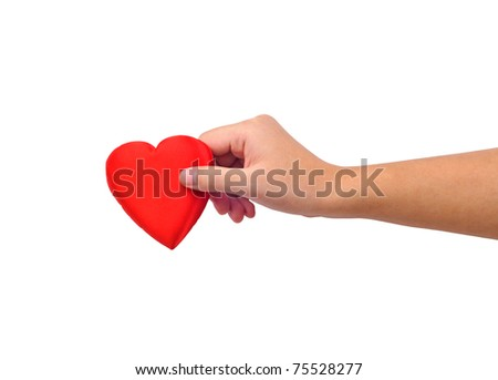 Hand giving heart isolated on white
