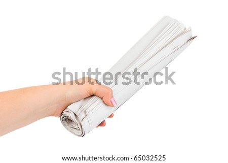 Hand giving newspapers isolated on white background