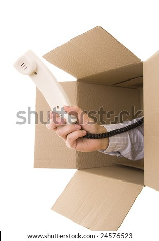 Hand giving you a phone receiver inside a box