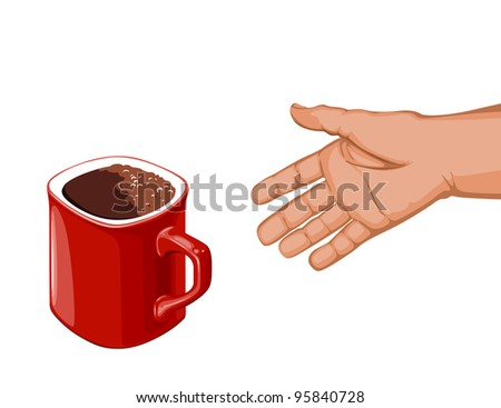 hand goes to the red cup of coffee to take her