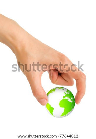 Hand grab world globe between two fingers