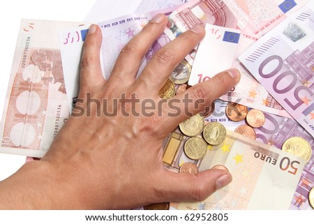 Hand grabbing money - stock photo