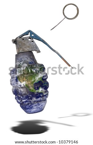 Hand grenade earth isolated over a white background