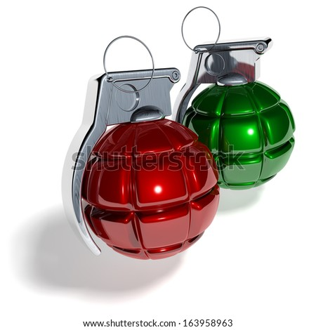 Hand grenade shaped christmas tree balls, xmas tree baubles, red, green, 3d rendering isolated on white background