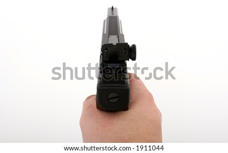 hand gun being aimed, isolated on over white