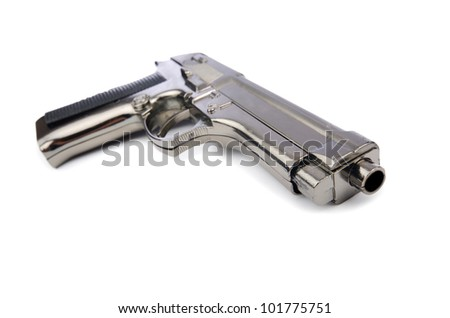 Hand gun isolated on the white background