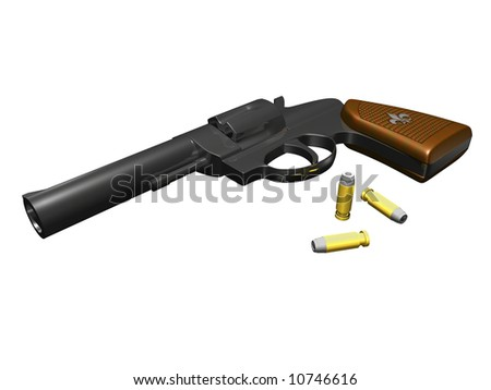 Hand Gun on white background with bullets 3D render