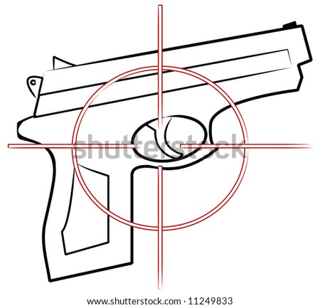 hand gun outline with cross hair target on top