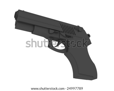 hand gun render - stock photo