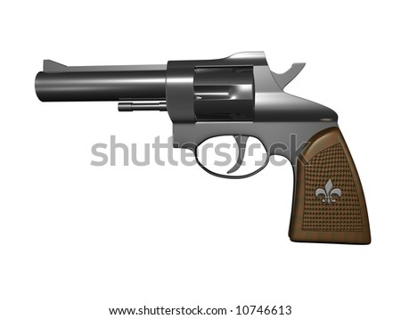 hand gun side view on white background 3d render