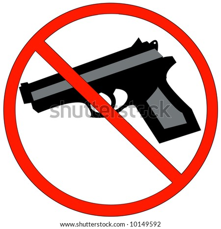 hand guns prohibited or not allowed sign