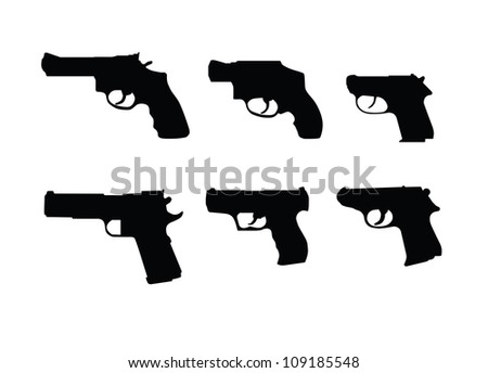 Hand guns swilhouettes isolated on white background.