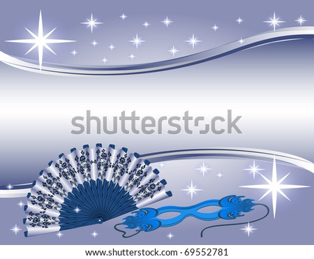 Hand-held fan and a mask. raster image.
