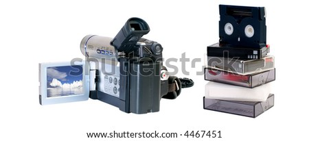 Hand-held portable video camera isolated over white , file contains clipping path for the display , camera and mini dv tapes