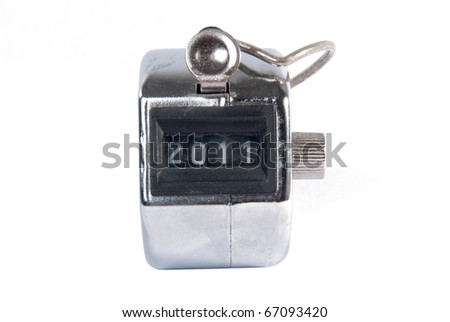 Hand held tally counter isolated on white