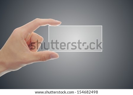 Hand Hold A Digital Business Card In Front Of Grey Background 154682498