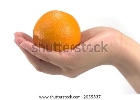 hand hold an orange