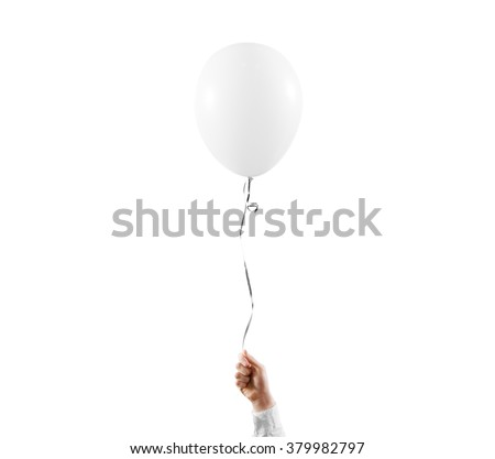 Hand hold blank white balloon mock up isolated. White balloon art design mockup holding in hand. Clear baloon template. Logo, texture, pattern presentation design element. #379982797