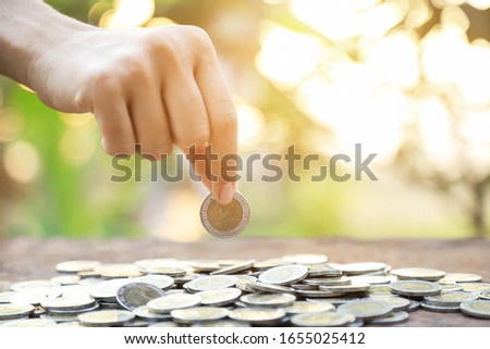 hand hold coins with nature light for save money concept finance